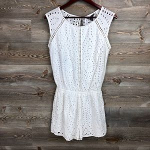American Eagle White Lace Open Back Romper